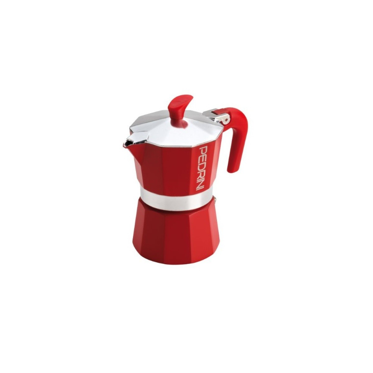 Pedrini coffee maker Kaffettiera 1 Moka mug in aluminum & Ergonomic red