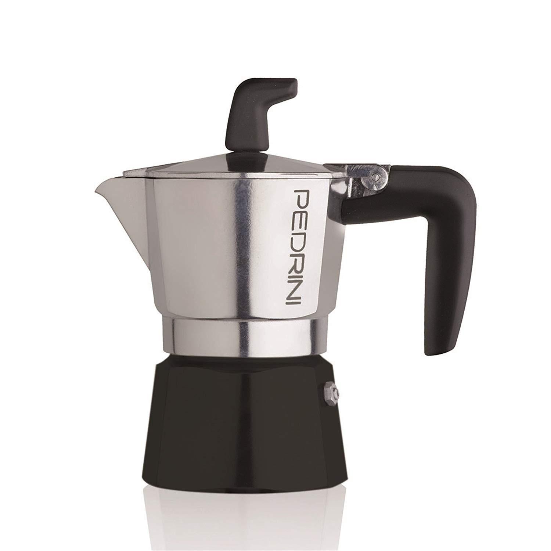 Pedrini Coffee Maker Sei Moka 2 Cups Espresso Coffee Pot, Polished Aluminium