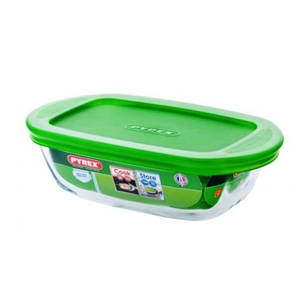 Pyrex Cook & Store Rectangular Dish W/ Lid Microwave Oven Airtight, 0.4 L 17 cm