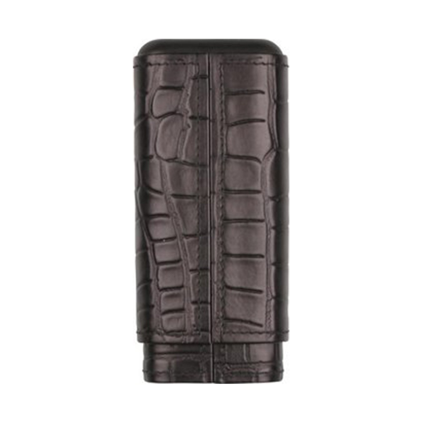 Cigar sliding case leather black, croco design, cedar lining for 3 cigars (Robusto) 16cm length, 2.3cm inside diameter