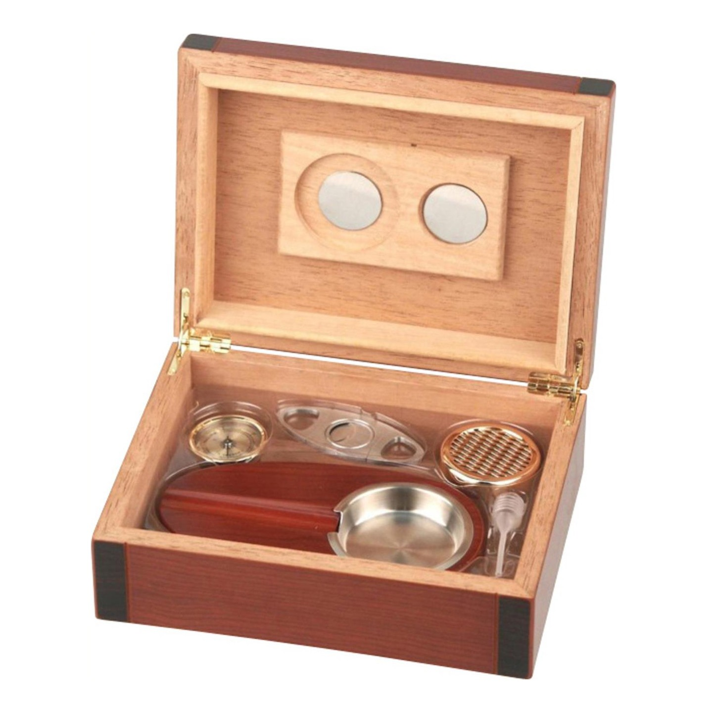 Cigar Box Humidor set cherry 2-tone for ca. 25 cigars with hygrometer+humidifier+cutter+ashtray H 8 x W 24 x D 18cm