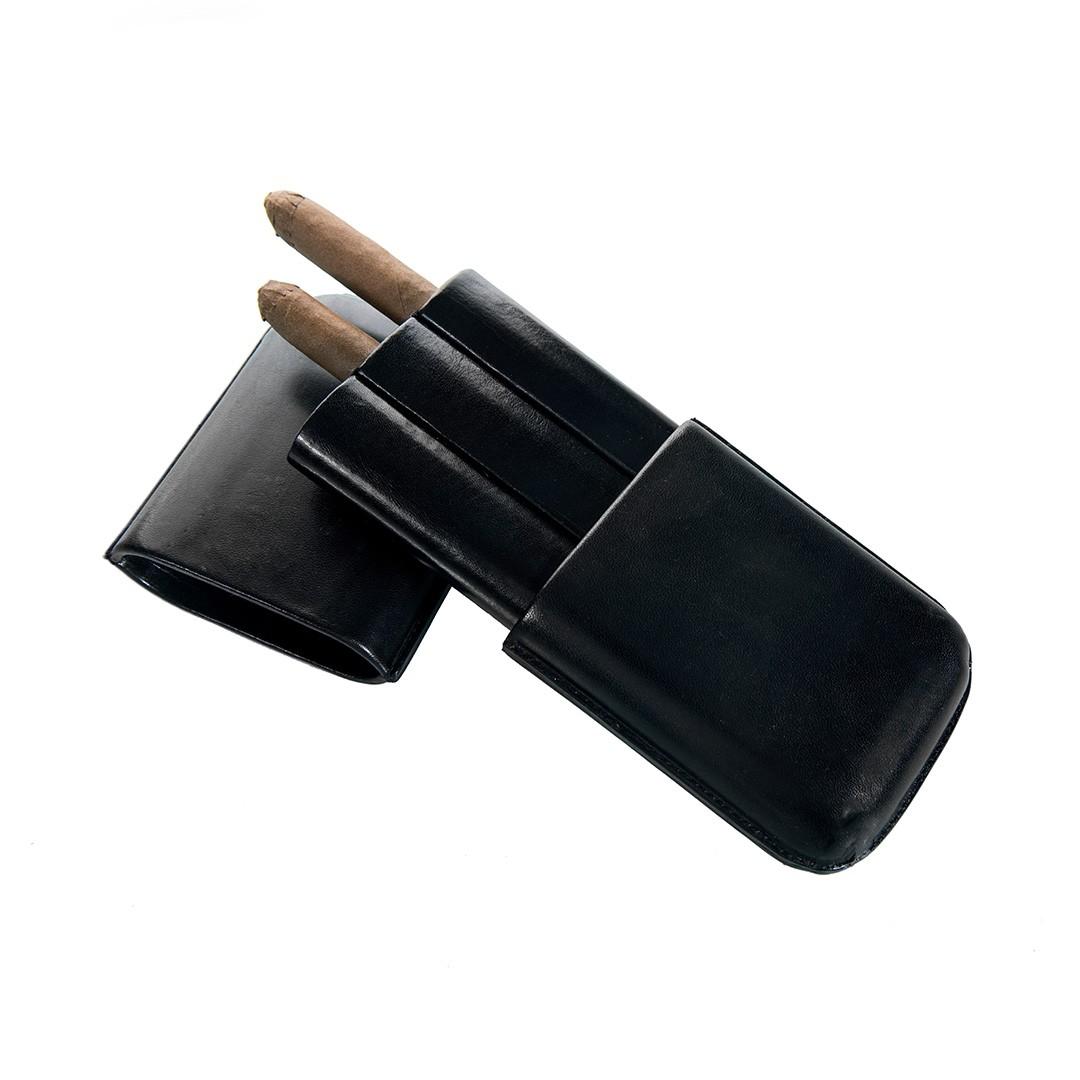 Cigar Case Leather Black - 3 Finger