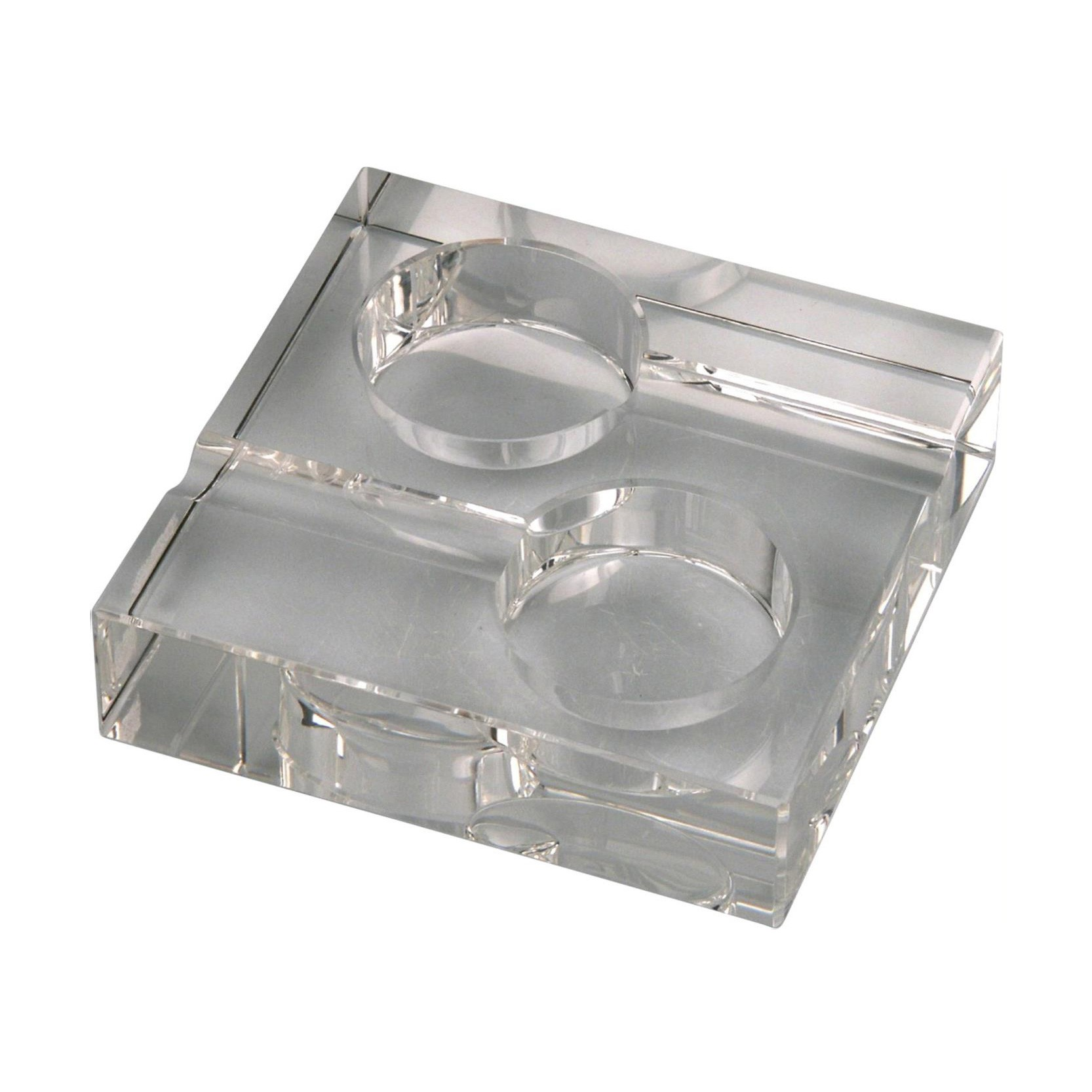 Crystal Cigar ashtray glass/squared 2 rests H 4 x W 15 x T 15 cm
