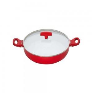 Pedrini A Ceramic Pot soft Touch 24cm Red w/ Glass Lid