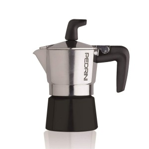 Pedrini Coffee Maker Sei Moka 1 Cup Espresso Coffee Pot, Polished Aluminium