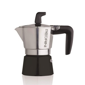 Pedrini Coffee Maker Sei Moka 2 Cups Espresso Coffee Pot, Polished Aluminium