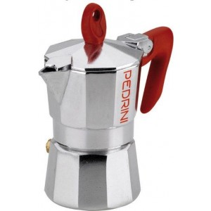 Pedrini Coffee Maker Sei Moka 1 Cup Espresso Coffee Pot, red