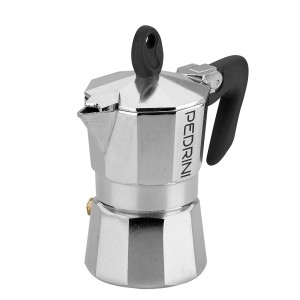 Pedrini Coffee Maker Sei Moka 1 Cup Espresso Coffee Pot, Black