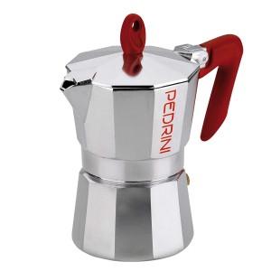 Pedrini Coffee Maker Sei Moka 2 Cups Espresso Coffee Pot, Red