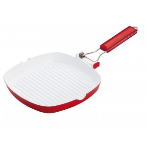 Pedrini Pan,Couturra Vanilla Ceramic Coated Square Grill Pan 24 x 24 cm foldable Handle
