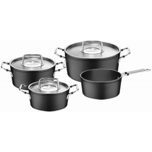 Fissler Luno Stew Pots and Saucepan, Black, 18/20/24 cm, Set of 4