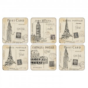 Z Pimpernel Postcard Sketches Coasters Set of 6