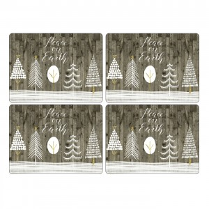 Pimpernel Wooden White Christmas Placmats Set of 4