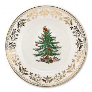 Spode Christmas Tree Gold 8 Inch Plate Set of 4