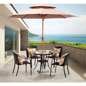 Aluminum & Rattan Table Set
