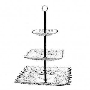 Bohemia Glacier Crystal Three Tier Plate