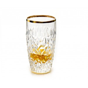 Bohemia Nicolette Hi Ball Crystal Glass With Gold Sprayed Mat - 43 cl