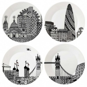 London Calling Side Plates 22cm (Set of 4) - Charlene Mullen