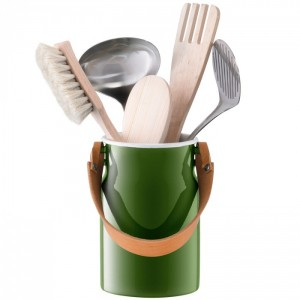 LSA UTILITY Utensil Pot & Leather Handle H 29 cm