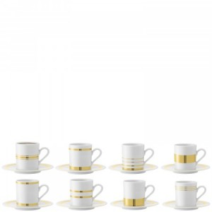 LSA DECO Espresso Cup & Saucer Set of 8 0.09L