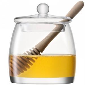 LSA SERVE Honey Pot & Dipper H12.5cm Handmade Glass