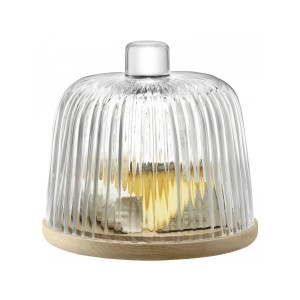 LSA PLEAT Dome & Oak Base dia:22cm Handmade Glass