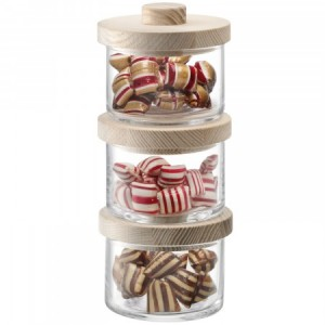 LSA CONNECT Container Mini Trio & Ash Lids H17.5cm Set of 3 Handmade Glass