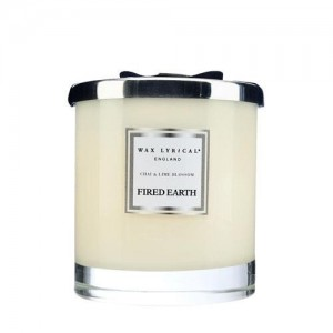 Wax Lyrical 2 Wick Scented Candle Glass Candle, Large White Tea & Pom, Fired Earth