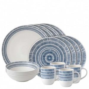 Cobalt Blue Chevron 16 Piece Dinner Set - Ellen DeGeneres
