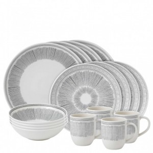 Charcoal Grey Lines 16 Piece Dinner Set - Ellen DeGeneres