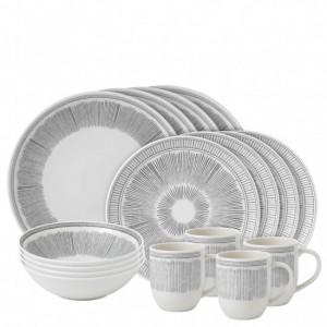Charcoal Grey Lines 16 Piece Dinner Set - Ellen DeGeneres