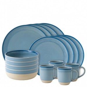 Brushed Glaze Polar Blue 16 Piece Dinner Set - Ellen DeGeneres