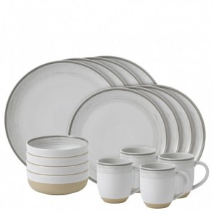 Brushed Glaze Soft White 16 Piece Dinner Set - Ellen DeGeneres