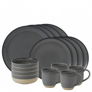 Brushed Glaze Charcoal Grey 16 Piece Dinner Set - Ellen DeGeneres