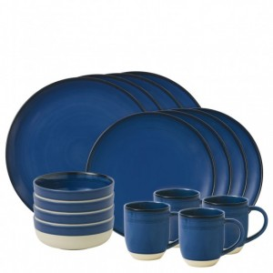 Brushed Glaze Cobalt Blue 16 Piece Dinner Set - Ellen DeGeneres
