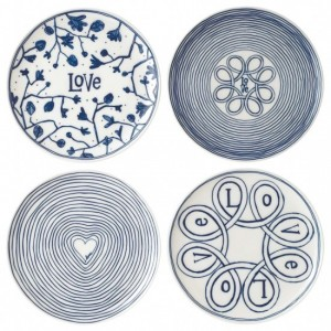 Blue Love Side Plates 21cm (Set of 4) - Ellen DeGeneres