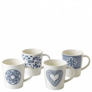 Blue Love Mugs (Set of 4) - Ellen DeGeneres