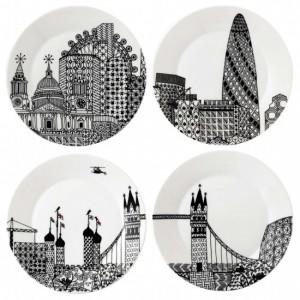 London Calling Side Plates 22cm (Set of 4) - Charlene Mullen
