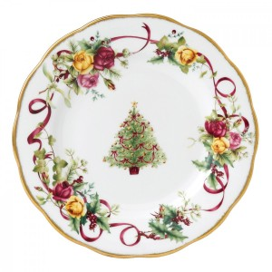Old Country Roses Christmas Tree Salad Plate