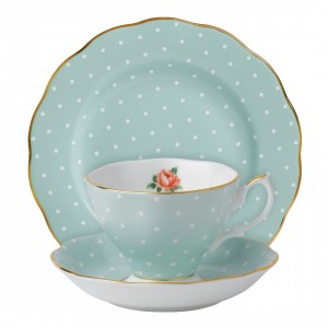 Polka Rose Vintage 3-Piece Place Setting