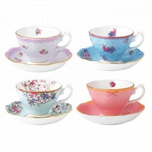 Candy Teacups & Saucers (Set Of 4)