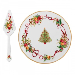 Old Country Roses Christmas Tree Low Cake Plate & Server