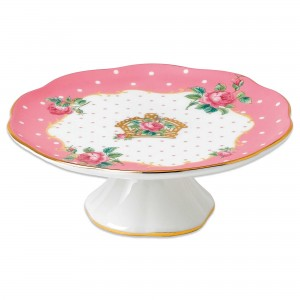 Cheeky Pink Roses Vintage Small Cake Stand