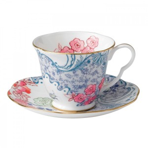 Wedgwood Butterfly Bloom Teacup And Saucer Blue And Pink