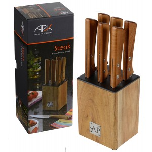 Arthur Price Kitchen APK Steak Knives in Wooden Block/ Wood/ Set of 6