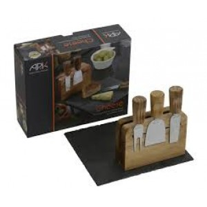 Arthur Price Kitchen Rectangular Slate Cheese Board & 3 Knives