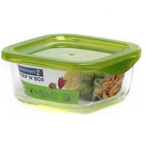 Luminarc storage box Keep'N Square Box With Green Press Cover 72 cl