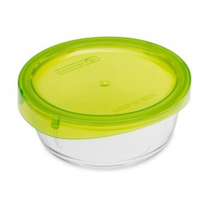Luminarc storage box Keep'N Round Box With Green Press Cover 88 cl