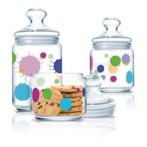 Luminarc Storage Glass Jar 3 pcs set 0.5 L, 0.75 L, 1.0 L Splash