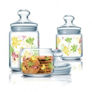 Luminarc Storage Glass Jar 3 pcs set 0.5 L, 0.75 L, 1.0 L Crazy Flower